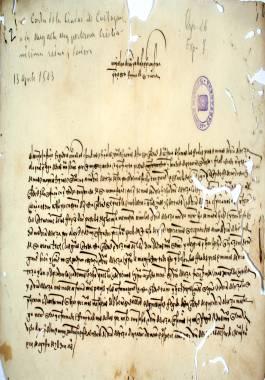 1503, Agosto, 13. El Concejo de Cartagena a Isabel la Católica, agradeciendo la incorporación a la Corona y el fin del señorío de los Fajardo y solicita la confirmación de los privilegios de la ciudad.