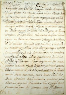 23 mayo 1753. Carta de Fernando VI dirigida al Gobernador de la Ciudad de Cartagena, ordenando se cumpla con toda exactitud el Concordato existente entre la Corte y Roma.