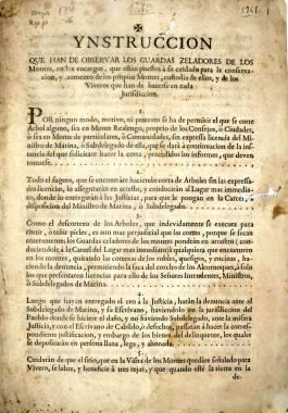 1749. Instrucciones del Ayuntamiento de Cartagena para los guardas de montes.