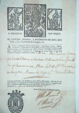 1775. Patente de sanidad entregada por el Ayuntamiento de Cartagena al patrón de un barco.