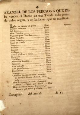 1787. Informe sobre los precios del chocolate y todo género de dulces que los confiteros venden en sus tiendas para formar el arancel mandado por el Supremo Consejo de Castilla.