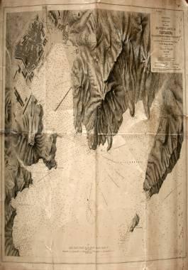 1881. Plano del Puerto y Arsenal de Cartagena, con la ensenada de Escombreras y las Algamecas.