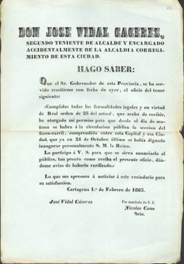 1863. Permiso para poner en circulación el tramo de ferrocarril entre Murcia y Cartagena.