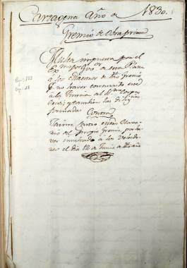 1830. Multa impuesta por el Gobernador de Cartagena a los maestros del gremio de obra prima, por no haber asistido a la función del Corpus Cristi.