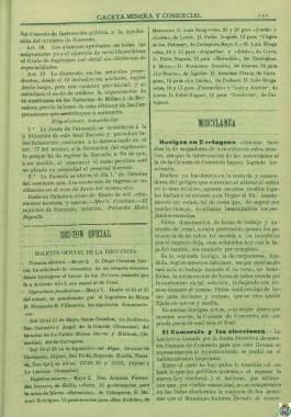 1899, mayo, 9. Información aparecida en La Gaceta Minera sobre huelgas en Cartagena.