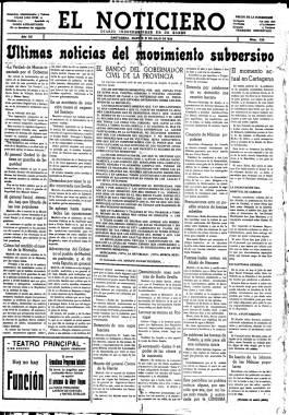 1936, Julio, 21. Primera plana de El Noticiero con las últimas noticias sobre la sublevación militar.