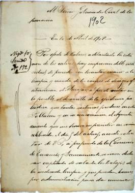 1902. Carta del Alcalde al Gobernador Civil solicitando autorización para iniciar los trabajos de desagüe del Almarjal.