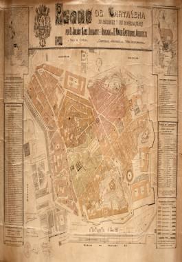 1912. Plano de la ciudad con sus murallas derribadas, sus distritos y cuarteles.