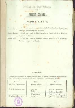 1916-1930. Nomenclátor de los cuarteles y calles de la ciudad de Cartagena.