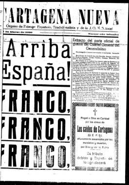 1939, Marzo, 30. Primera plana de Cartagena Nueva con el último parte oficial de guerra.