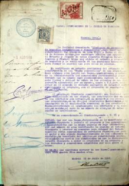 """1916. Instancia presentada por el Sindicato de Promoción de Negocios Industriales y Financieros, ofreciéndose para explotar comercialmente los """"docks"""" proyectados por el Ayuntamiento."""