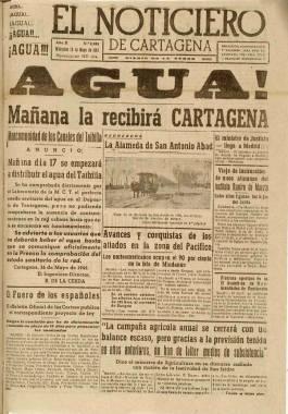 """1945, Mayo, 6. Portada de """"El Noticiero"""""""